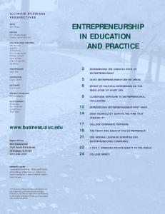 ENTREPRENEURSHIP IN EDUCATION AND PRACTICE