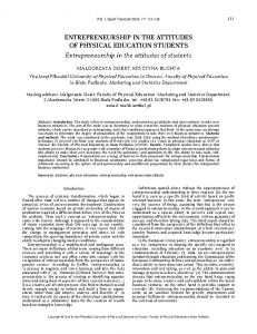 ENTREPRENEURSHIP IN THE ATTITUDES OF PHYSICAL EDUCATION STUDENTS Entrepreneurship in the attitudes of students