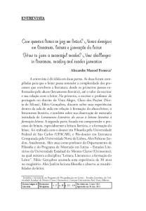 ENTREVISTA. Alexandre Manoel Fonseca 1