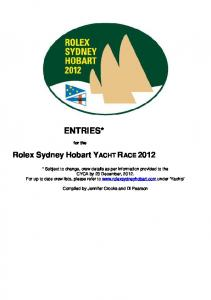 ENTRIES* Rolex Sydney Hobart YACHT RACE for the