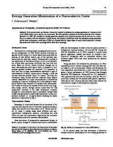 Entropy Generation Minimization of a Thermoelectric Cooler