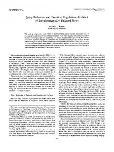 Entry Behavior and Emotion Regulation Abilities of Developmentally Delayed Boys
