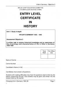 ENTRY LEVEL CERTIFICATE IN HISTORY