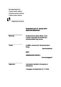 Entscheid vom 27. Januar 2017 Beschwerdekammer