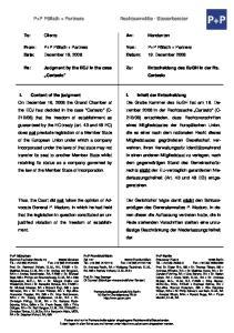 Entscheidung des EuGH in der Rs. Cartesio