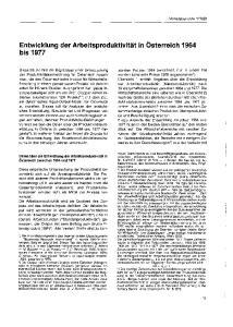 Entwicklung der Arbeitsproduktivität in Osterreich 1964 bis 1977