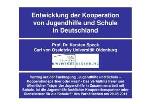 Entwicklung der Kooperation von Jugendhilfe und Schule in Deutschland