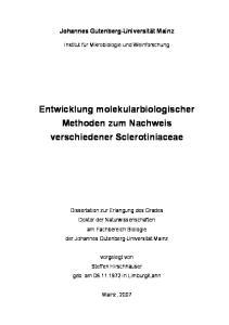 Entwicklung molekularbiologischer Methoden zum Nachweis verschiedener Sclerotiniaceae