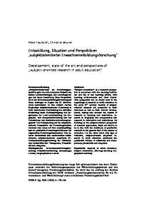 Entwicklung, Situation und Perspektiven. subjektorientierte empirische Erwachsenenbildungsforschung