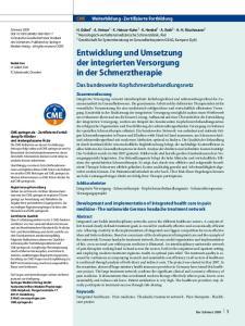 Entwicklung und Umsetzung der integrierten Versorgung in der Schmerztherapie