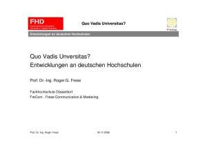 Entwicklungen an deutschen Hochschulen