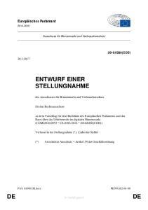 ENTWURF EINER STELLUNGNAHME