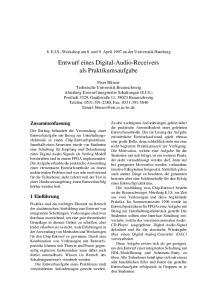 Entwurf eines Digital-Audio-Receivers als Praktikumsaufgabe
