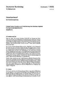 Entwurf eines Gesetzes zur Erleichterung des Ausbaus digitaler Hochgeschwindigkeitsnetze (DigiNetzG)