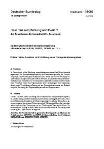 Entwurf eines Gesetzes zur Errichtung eines Transplantationsregisters