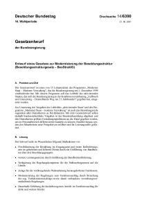 Entwurf eines Gesetzes zur Modernisierung der Besoldungsstruktur (Besoldungsstrukturgesetz BesStruktG)