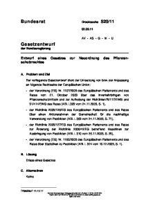 Entwurf eines Gesetzes zur Neuordnung des Pflanzenschutzrechtes