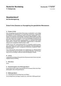 Entwurf eines Gesetzes zur Neuregelung des gesetzlichen Messwesens