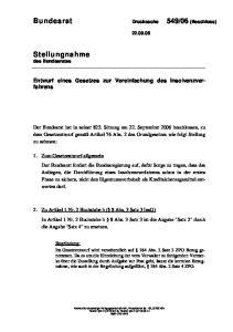 Entwurf eines Gesetzes zur Vereinfachung des Insolvenzverfahrens