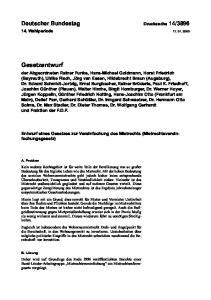 Entwurf eines Gesetzes zur Vereinfachung des Mietrechts (Mietrechtsvereinfachungsgesetz)