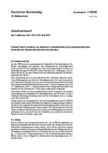 Entwurf eines Gesetzes zur weiteren Fortentwicklung der parlamentarischen Kontrolle der Nachrichtendienste des Bundes