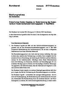 Entwurf eines Zweiten Gesetzes zur Modernisierung des Kostenrechts (2. Kostenrechtsmodernisierungsgesetz - 2. KostRMoG)