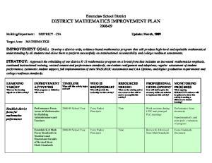 Enumclaw School District DISTRICT MATHEMATICS IMPROVEMENT PLAN