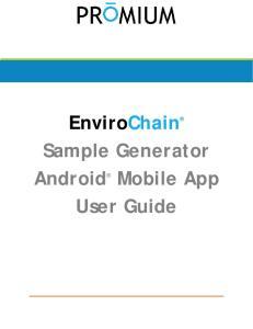 EnviroChain Sample Generator Android Mobile App User Guide
