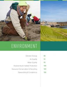 ENVIRONMENT. Climate Change Air Quality Water Quality Biodiversity & Habitat Protection Resource Conservation & Recycling Stewardship & Compliance