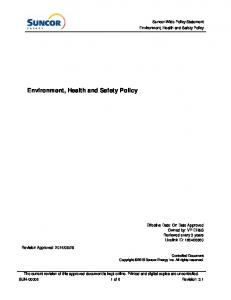 Environment, Health and Safety Policy
