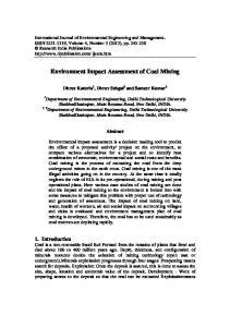 Environment Impact Assessment of Coal Mining