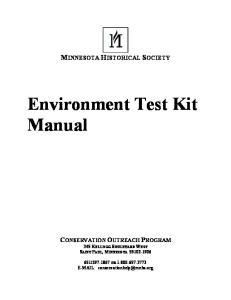 Environment Test Kit Manual