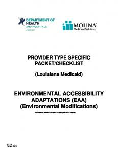 ENVIRONMENTAL ACCESSIBILITY ADAPTATIONS (EAA) (Environmental Modifications)