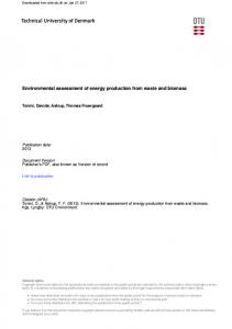 Environmental assessment of energy production from waste and biomass