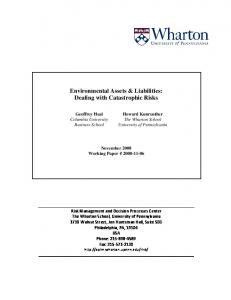 Environmental Assets & Liabilities: Dealing with Catastrophic Risks
