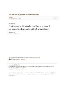 Environmental Attitudes and Environmental Stewardship: Implications for Sustainability