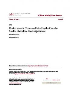 Environmental Concerns Raised by the Canada- United States Free Trade Agreement