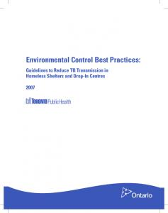 Environmental Control Best Practices: Guidelines to Reduce TB Transmission in Homeless Shelters and Drop-In Centres