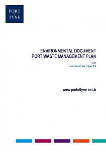 ENVIRONMENTAL DOCUMENT PORT WASTE MANAGEMENT PLAN