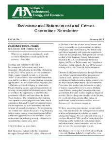 Environmental Enforcement and Crimes. Committee Newsletter