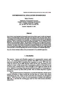 ENVIRONMENTAL EVALUATION OF BIOFUELS