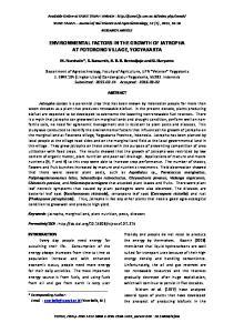 ENVIRONMENTAL FACTORS IN THE GROWTH OF JATROPHA AT POTORONO VILLAGE, YOGYAKARTA