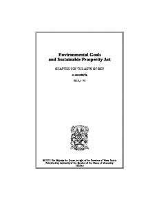 Environmental Goals and Sustainable Prosperity Act