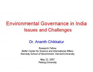 Environmental Governance in India
