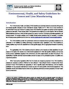Environmental, Health, and Safety Guidelines for Cement and Lime Manufacturing