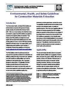 Environmental, Health, and Safety Guidelines for Construction Materials Extraction