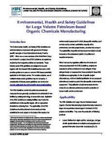 Environmental, Health and Safety Guidelines for Large Volume Petroleum-based Organic Chemicals Manufacturing