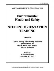Environmental Health and Safety STUDENT ORIENTATION TRAINING
