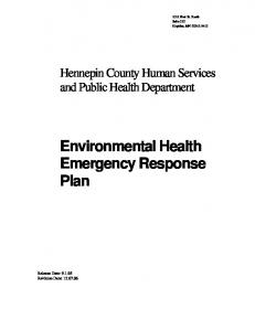 Environmental Health Emergency Response Plan