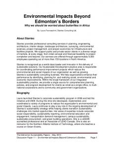 Environmental Impacts Beyond Edmonton s Borders Why we should be worried about butterflies in Africa